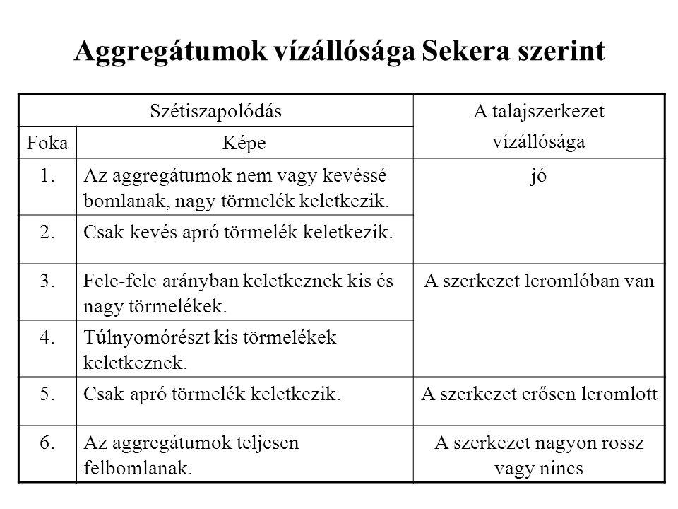 Aggregátumok vízállósága Sekera szerint SzétiszapolódásA talajszerkezet vízállósága FokaKépe 1.Az aggregátumok nem vagy kevéssé bomlanak, nagy törmelék keletkezik.