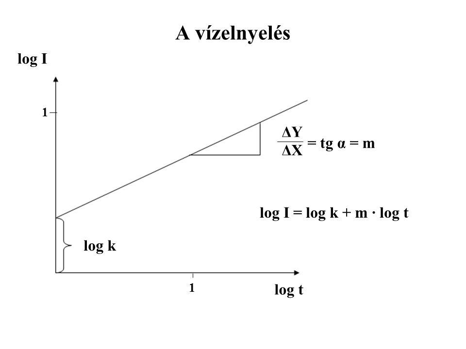 A vízelnyelés log k log t log I ΔYΔY ΔXΔX = tg α = m 1 1 log I = log k + m · log t