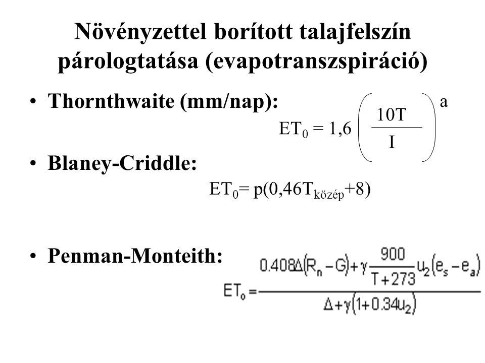 Növényzettel borított talajfelszín párologtatása (evapotranszspiráció) Thornthwaite (mm/nap): Blaney-Criddle: Penman-Monteith: ET 0 = 1,6 I a 10T ET 0 = p(0,46T közép +8)