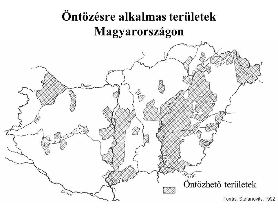 Öntözésre alkalmas területek Magyarországon Öntözhető területek Forrás: Stefanovits, 1992