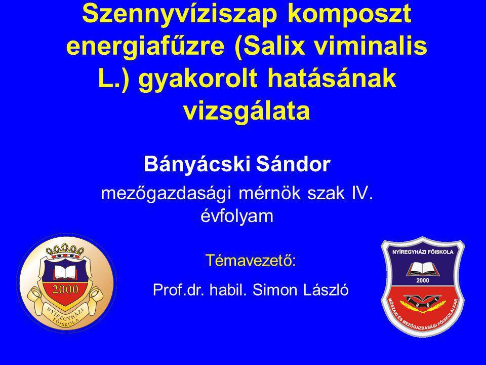 Szennyvíziszap komposzt energiafűzre (Salix viminalis L.) gyakorolt hatásának vizsgálata Bányácski Sándor mezőgazdasági mérnök szak IV. évfolyam Témav