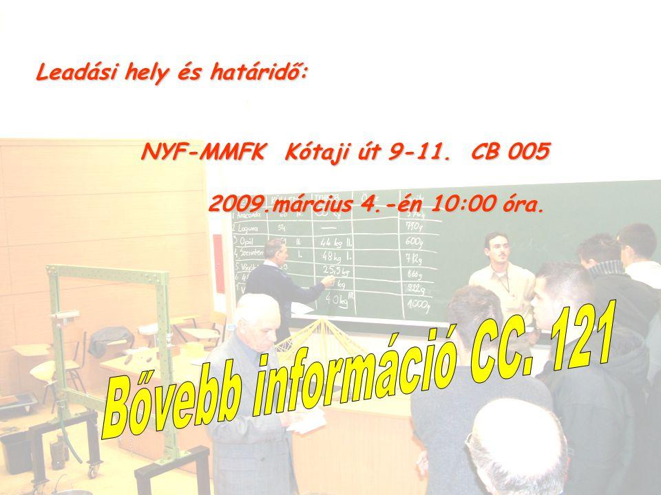 Leadási hely és határidő: NYF-MMFK Kótaji út 9-11. CB 005 NYF-MMFK Kótaji út 9-11. CB 005 2009.március 4.-én 10:00 óra. 2009.március 4.-én 10:00 óra.