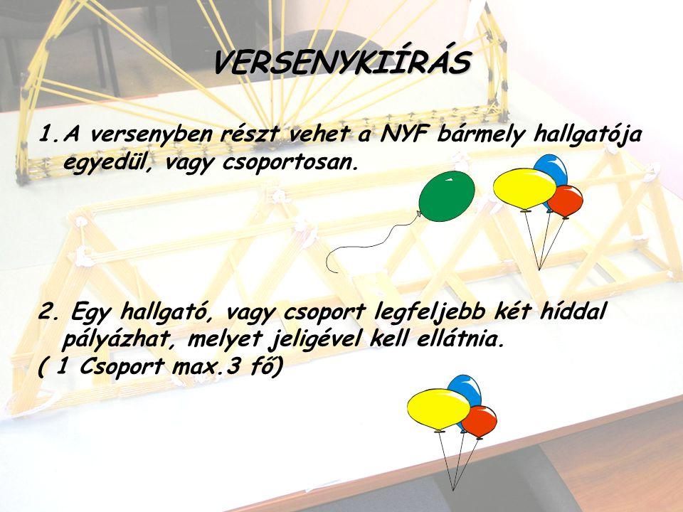 VERSENYKIÍRÁS 1.A versenyben részt vehet a NYF bármely hallgatója egyedül, vagy csoportosan. 2. Egy hallgató, vagy csoport legfeljebb két híddal pályá