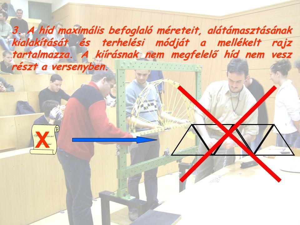 3. A híd maximális befoglaló méreteit, alátámasztásának kialakítását és terhelési módját a mellékelt rajz tartalmazza. A kiírásnak nem megfelelő híd n