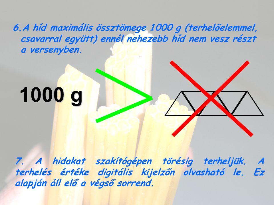 6.A híd maximális össztömege 1000 g (terhelőelemmel, csavarral együtt) ennél nehezebb híd nem vesz részt a versenyben. 1000 g 7. A hidakat szakítógépe
