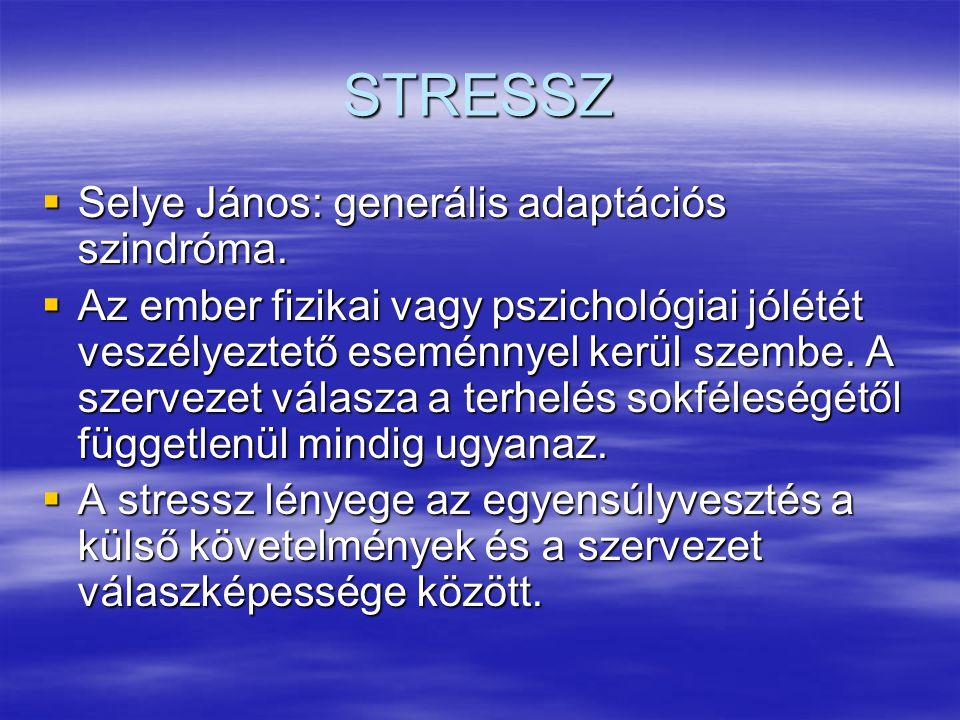 STRESSZ  Selye János: generális adaptációs szindróma.  Az ember fizikai vagy pszichológiai jólétét veszélyeztető eseménnyel kerül szembe. A szerveze