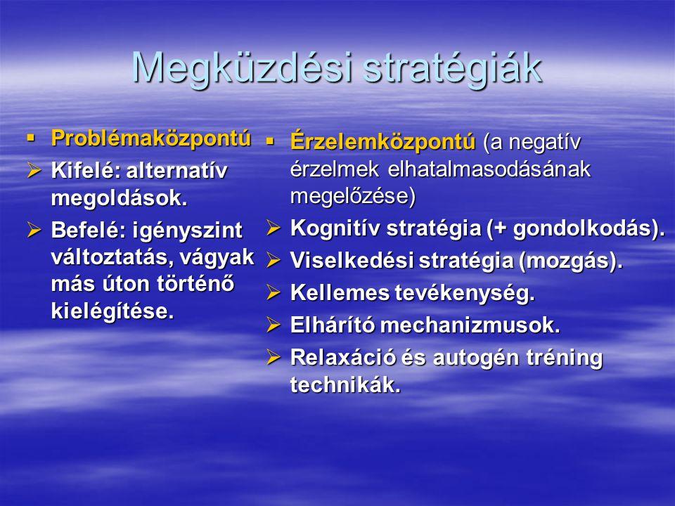 Megküzdési stratégiák  Problémaközpontú  Kifelé: alternatív megoldások.  Befelé: igényszint változtatás, vágyak más úton történő kielégítése.  Érz