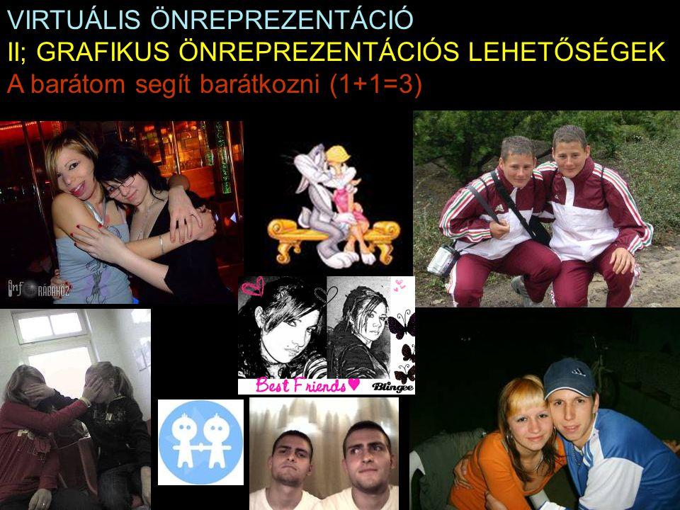 VIRTUÁLIS ÖNREPREZENTÁCIÓ II; GRAFIKUS ÖNREPREZENTÁCIÓS LEHETŐSÉGEK A barátom segít barátkozni (1+1=3)