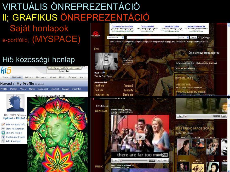 VIRTUÁLIS ÖNREPREZENTÁCIÓ II; GRAFIKUS ÖNREPREZENTÁCIÓ Saját honlapok e-portfólió, (MYSPACE) Hi5 közösségi honlap