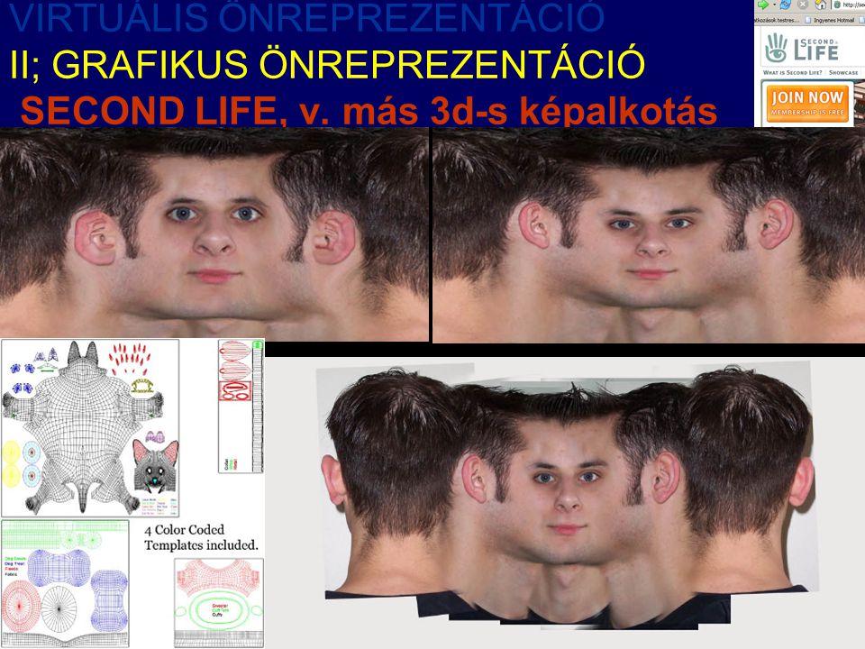 VIRTUÁLIS ÖNREPREZENTÁCIÓ II; GRAFIKUS ÖNREPREZENTÁCIÓ SECOND LIFE, v. más 3d-s képalkotás