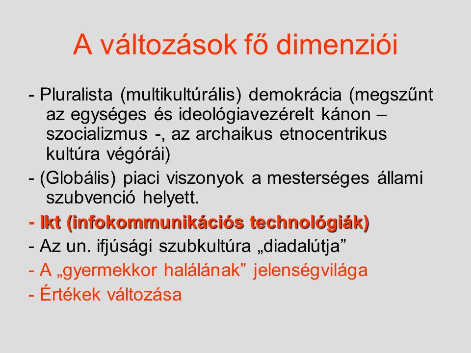 A változások fő dimenziói - Pluralista (multikultúrális) demokrácia (megszűnt az egységes és ideológiavezérelt kánon – szocializmus -, az archaikus etnocentrikus kultúra végórái) - (Globális) piaci viszonyok a mesterséges állami szubvenció helyett.