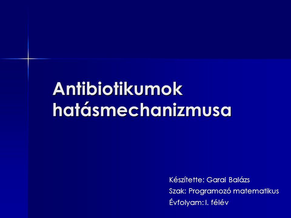 Antibiotikumok hatásmechanizmusa Készítette: Garai Balázs Szak: Programozó matematikus Évfolyam: I. félév
