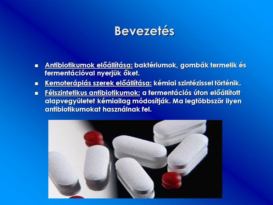Bevezetés Antibiotikumok előállítása: baktériumok, gombák termelik és fermentációval nyerjük őket. Antibiotikumok előállítása: baktériumok, gombák ter