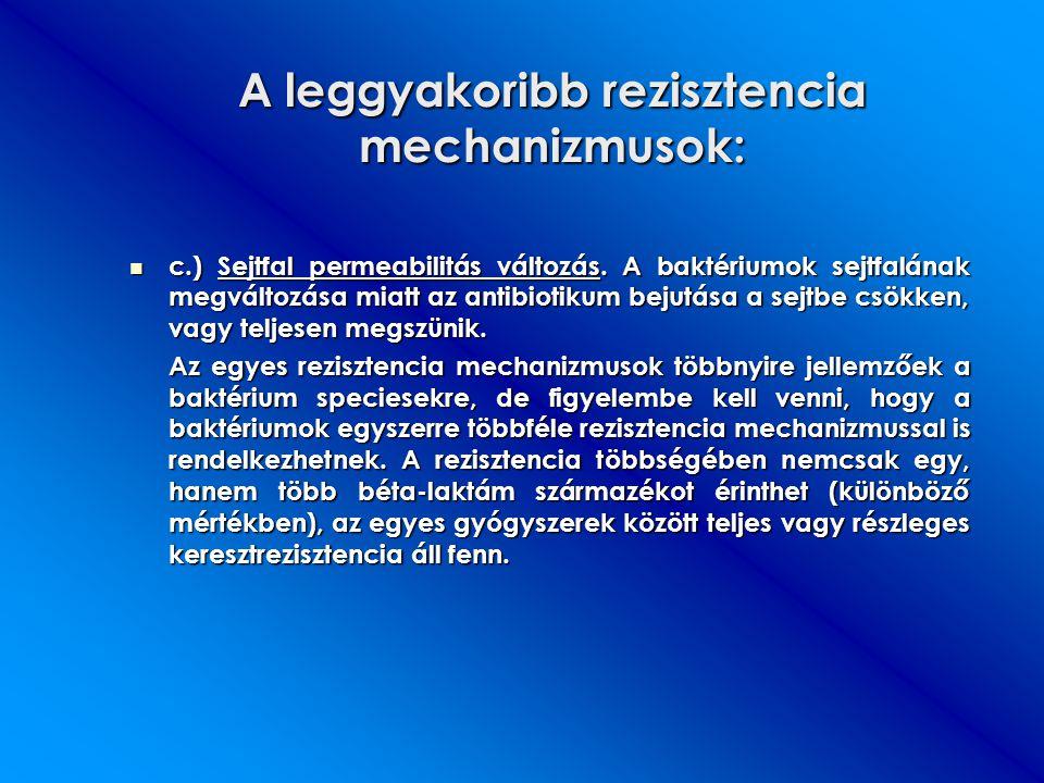 A leggyakoribb rezisztencia mechanizmusok: c.) Sejtfal permeabilitás változás. A baktériumok sejtfalának megváltozása miatt az antibiotikum bejutása a