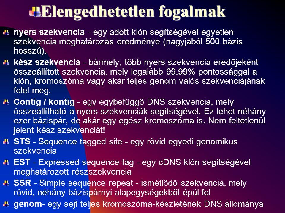 Elengedhetetlen fogalmak nyers szekvencia - egy adott klón segítségével egyetlen szekvencia meghatározás eredménye (nagyjából 500 bázis hosszú).