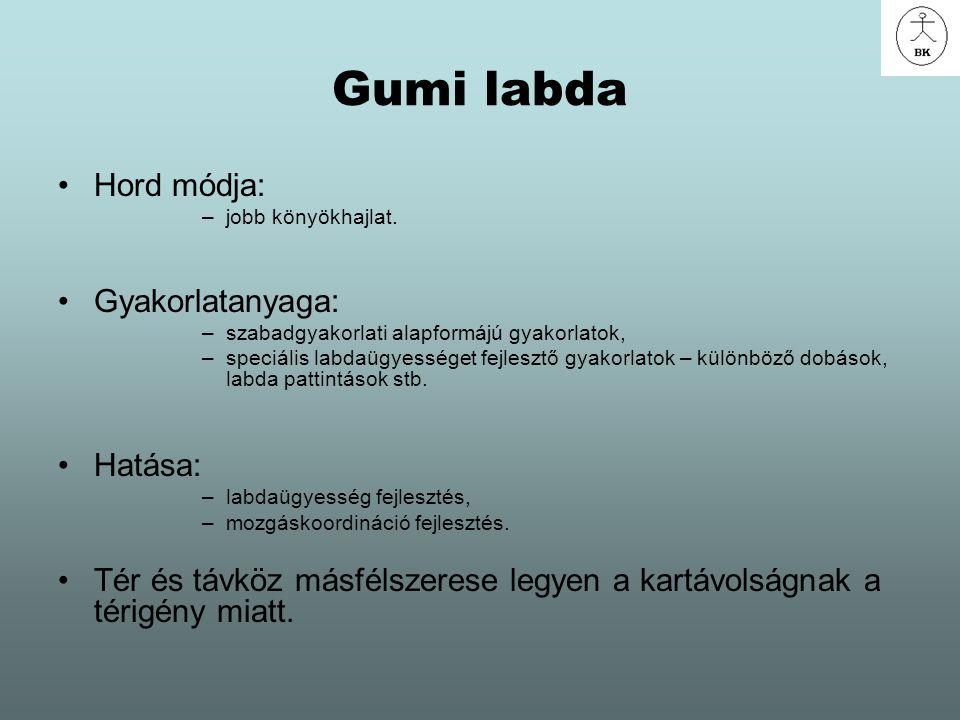 Gumi labda Hord módja: –jobb könyökhajlat. Gyakorlatanyaga: –szabadgyakorlati alapformájú gyakorlatok, –speciális labdaügyességet fejlesztő gyakorlato