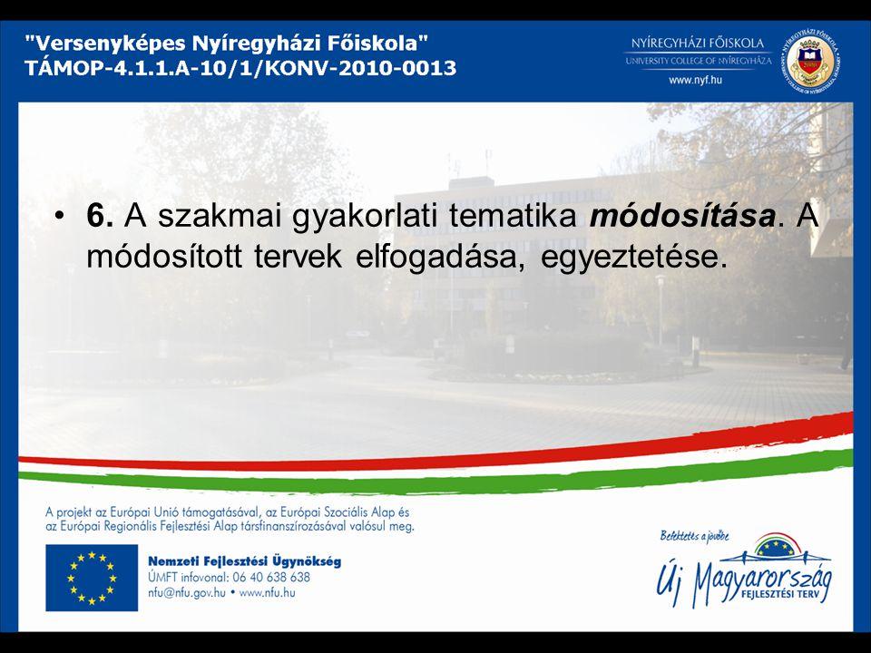 6. A szakmai gyakorlati tematika módosítása. A módosított tervek elfogadása, egyeztetése.