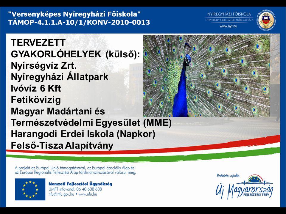 TERVEZETT GYAKORLÓHELYEK (külső): Nyírségvíz Zrt. Nyíregyházi Állatpark Ivóvíz 6 Kft Fetikövizig Magyar Madártani és Természetvédelmi Egyesület (MME)