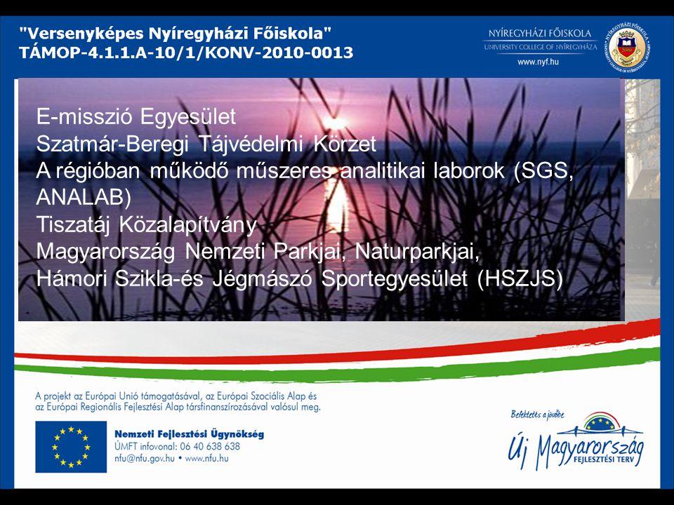 E-misszió Egyesület Szatmár-Beregi Tájvédelmi Körzet A régióban működő műszeres analitikai laborok (SGS, ANALAB) Tiszatáj Közalapítvány Magyarország Nemzeti Parkjai, Naturparkjai, Hámori Szikla-és Jégmászó Sportegyesület (HSZJS)