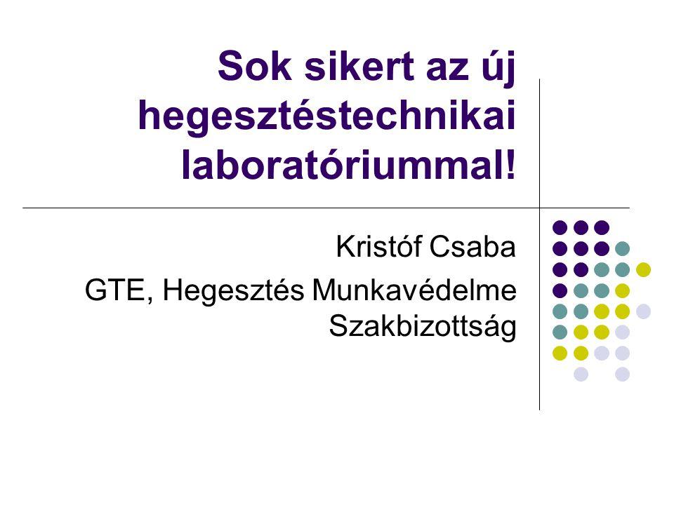 Sok sikert az új hegesztéstechnikai laboratóriummal! Kristóf Csaba GTE, Hegesztés Munkavédelme Szakbizottság