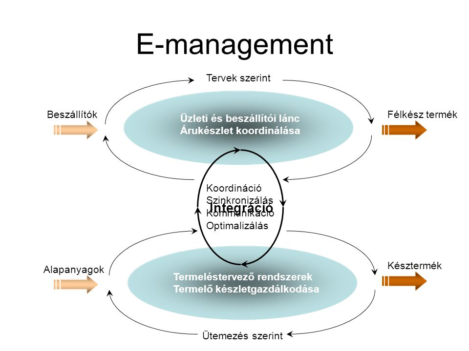 E-management Tervek szerint Ütemezés szerint Üzleti és beszállítói lánc Árukészlet koordinálása Termeléstervező rendszerek Termelő készletgazdálkodása Beszállítók Alapanyagok Késztermék Félkész termék Integráció Koordináció Szinkronizálás Kommunikáció Optimalizálás