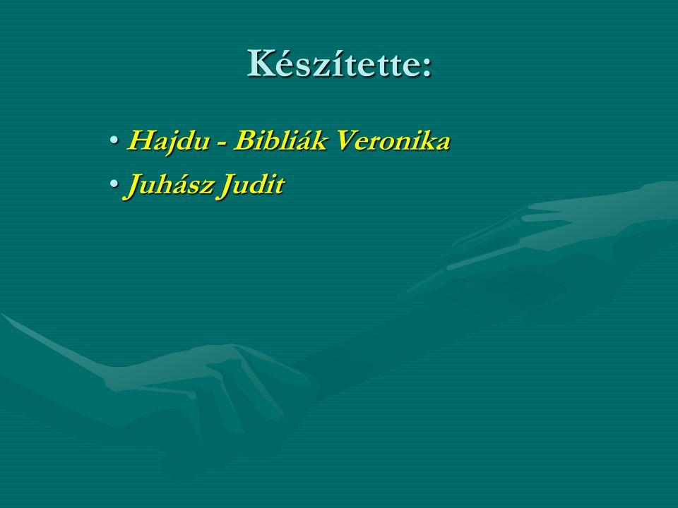 Készítette: Hajdu - Bibliák VeronikaHajdu - Bibliák Veronika Juhász JuditJuhász Judit