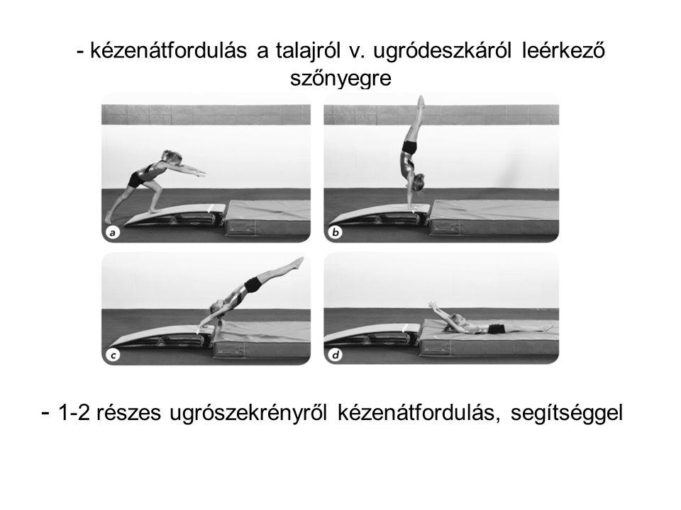 - kézenátfordulás a talajról v. ugródeszkáról leérkező szőnyegre - 1-2 részes ugrószekrényről kézenátfordulás, segítséggel