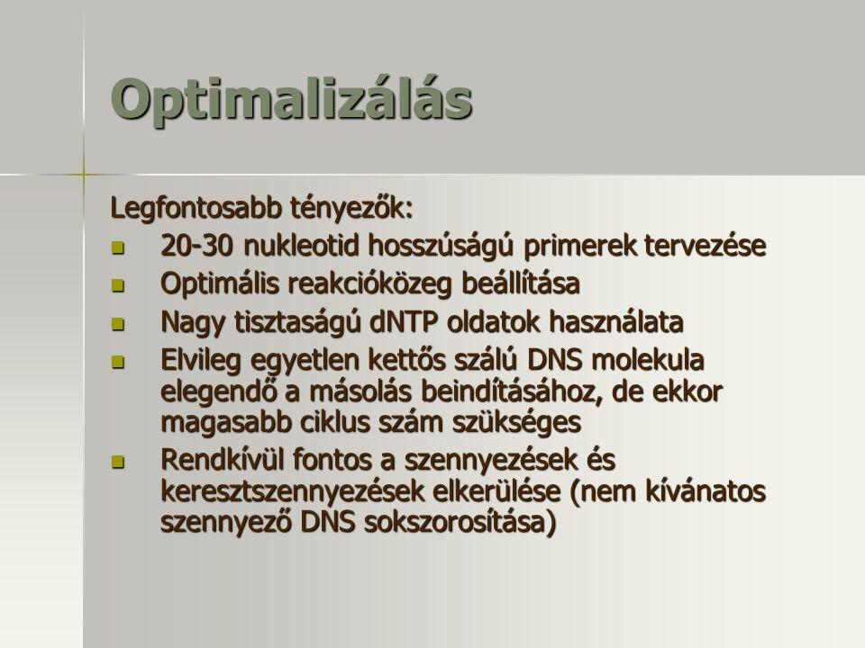 Optimalizálás Legfontosabb tényezők: 20-30 nukleotid hosszúságú primerek tervezése 20-30 nukleotid hosszúságú primerek tervezése Optimális reakcióköze