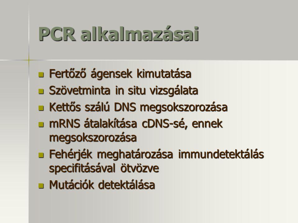 PCR alkalmazásai Fertőző ágensek kimutatása Fertőző ágensek kimutatása Szövetminta in situ vizsgálata Szövetminta in situ vizsgálata Kettős szálú DNS