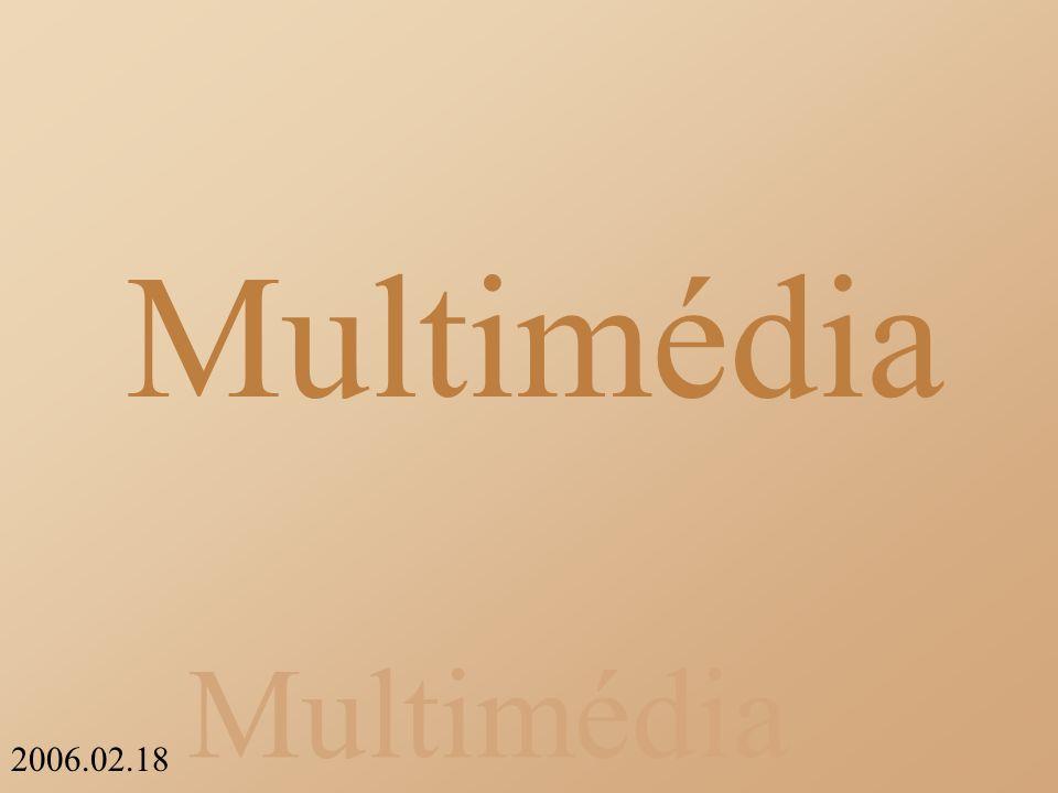 Multimédia 2006.02.18 Jellemzői Színmélység: Megjeleníthető színek száma, bitben is ki lehet fejezni Memória: Egy monitor kártya általában több felbontást is támogat, mivel a memóriája állandó, fordított arányosság van a felbontás és a színmélység között.