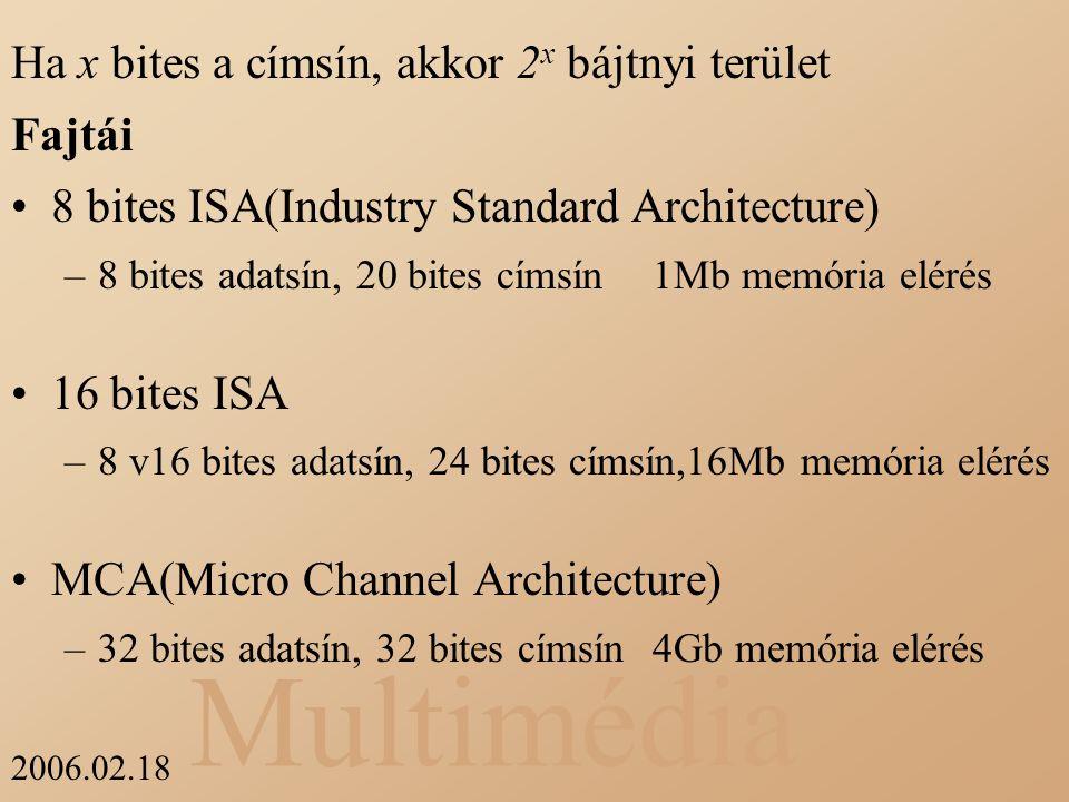 Multimédia 2006.02.18 Ha x bites a címsín, akkor 2 x bájtnyi terület Fajtái 8 bites ISA(Industry Standard Architecture) –8 bites adatsín, 20 bites cím