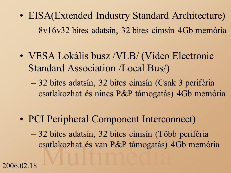 Multimédia 2006.02.18 EISA(Extended Industry Standard Architecture) –8v16v32 bites adatsín, 32 bites címsín 4Gb memória VESA Lokális busz /VLB/ (Video