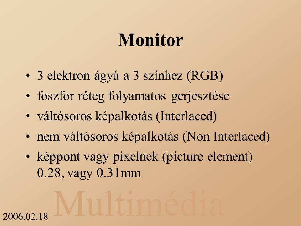 Multimédia 2006.02.18 Monitor 3 elektron ágyú a 3 színhez (RGB) foszfor réteg folyamatos gerjesztése váltósoros képalkotás (Interlaced) nem váltósoros