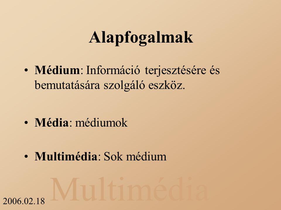 Multimédia 2006.02.18 Fajtái Felfogási: Érzékelés –Hallás {zene, zaj, beszéd} –Látás {szöveg, ábra, mozgókép} Képviseleti: Ábrázolás –ASCII (American Standard Code for Information Interchange) –JPEG (Joint Photographic Expert Group) –MP3 (ISO-MPEG Audio Layer-3).