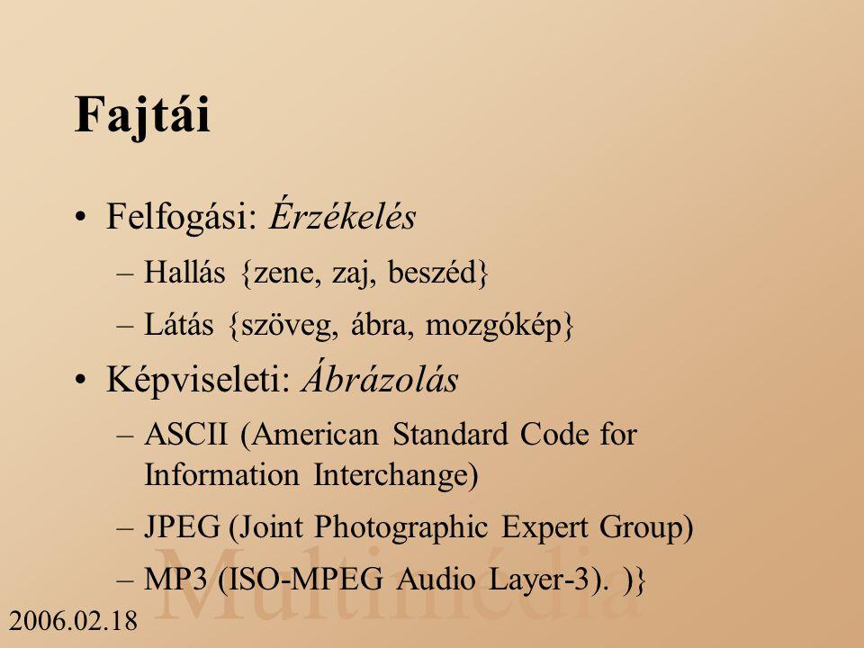 Multimédia 2006.02.18 Fajtái Felfogási: Érzékelés –Hallás {zene, zaj, beszéd} –Látás {szöveg, ábra, mozgókép} Képviseleti: Ábrázolás –ASCII (American