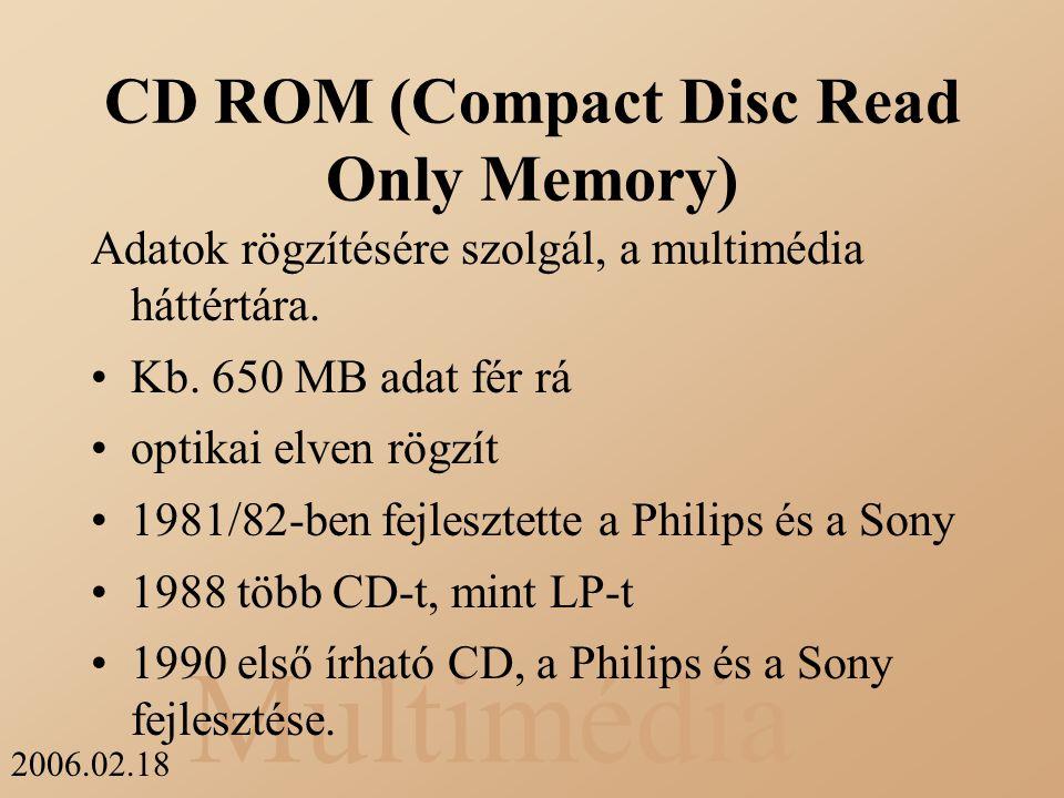 Multimédia 2006.02.18 CD ROM (Compact Disc Read Only Memory) Adatok rögzítésére szolgál, a multimédia háttértára. Kb. 650 MB adat fér rá optikai elven