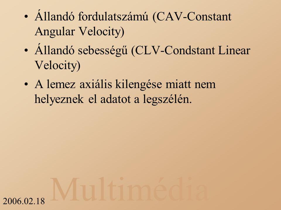 Multimédia 2006.02.18 Állandó fordulatszámú (CAV-Constant Angular Velocity) Állandó sebességű (CLV-Condstant Linear Velocity) A lemez axiális kilengés