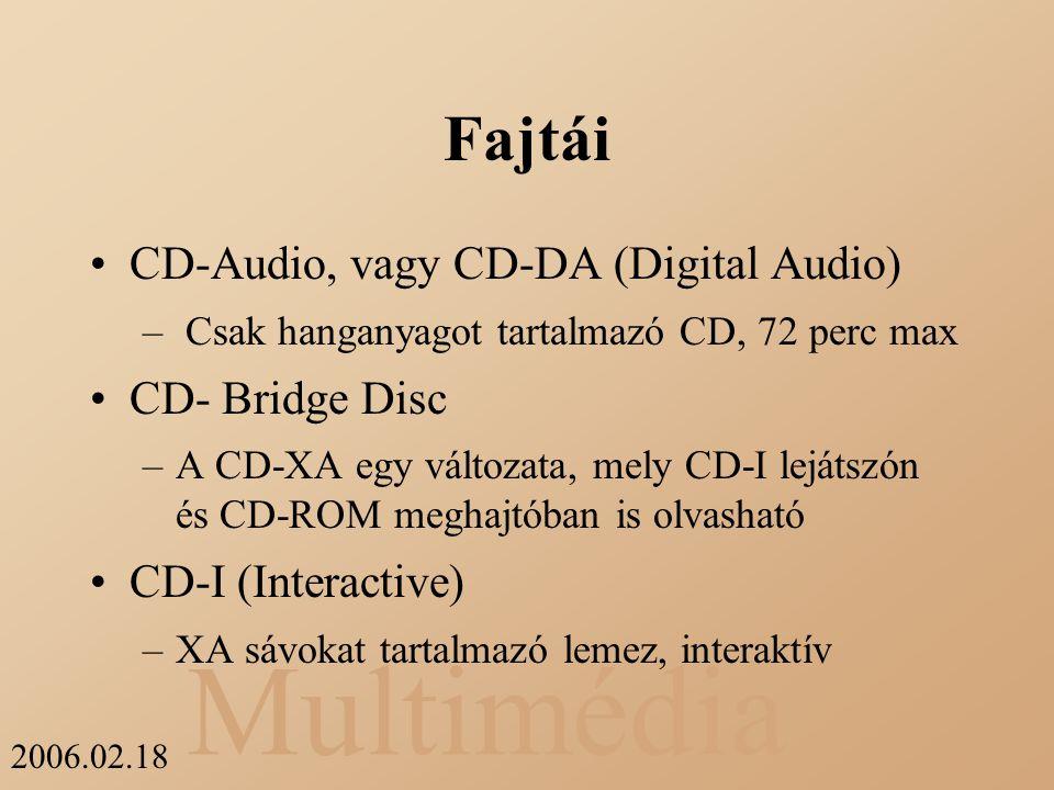 Multimédia 2006.02.18 Fajtái CD-Audio, vagy CD-DA (Digital Audio) – Csak hanganyagot tartalmazó CD, 72 perc max CD- Bridge Disc –A CD-XA egy változata