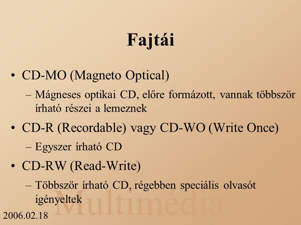 Multimédia 2006.02.18 Fajtái CD-MO (Magneto Optical) –Mágneses optikai CD, előre formázott, vannak többször írható részei a lemeznek CD-R (Recordable)