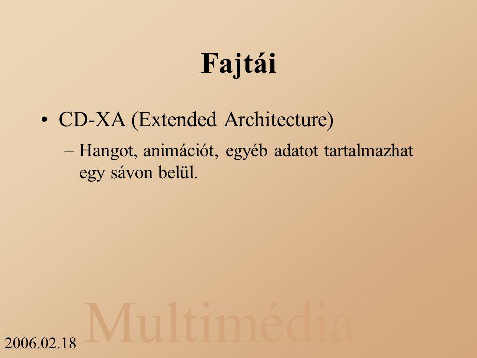 Multimédia 2006.02.18 Fajtái CD-XA (Extended Architecture) –Hangot, animációt, egyéb adatot tartalmazhat egy sávon belül.
