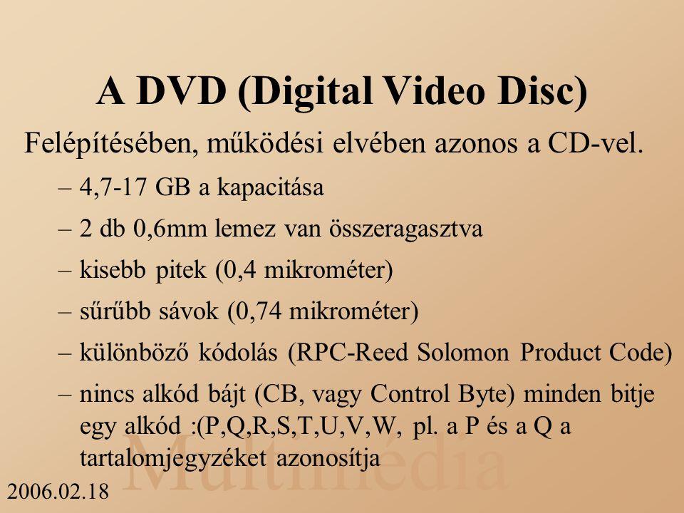 Multimédia 2006.02.18 A DVD (Digital Video Disc) Felépítésében, működési elvében azonos a CD-vel. –4,7-17 GB a kapacitása –2 db 0,6mm lemez van összer