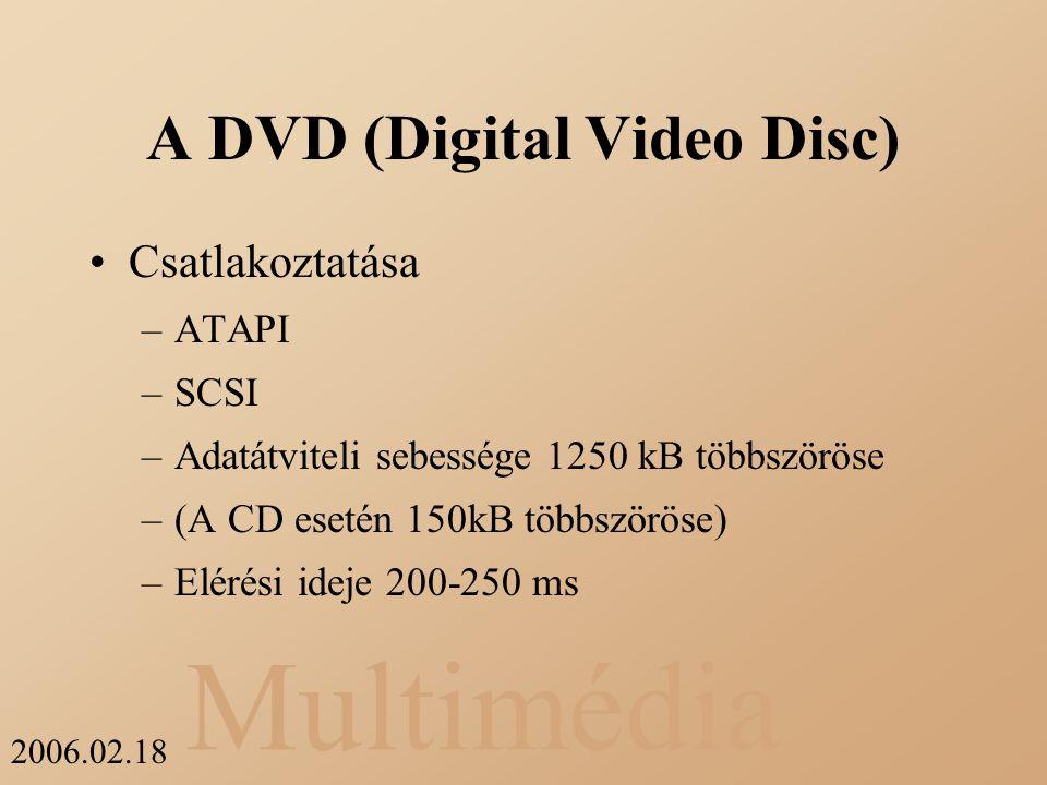 Multimédia 2006.02.18 A DVD (Digital Video Disc) Csatlakoztatása –ATAPI –SCSI –Adatátviteli sebessége 1250 kB többszöröse –(A CD esetén 150kB többször
