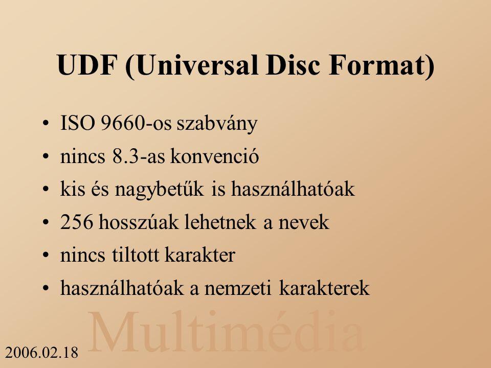 Multimédia 2006.02.18 UDF (Universal Disc Format) ISO 9660-os szabvány nincs 8.3-as konvenció kis és nagybetűk is használhatóak 256 hosszúak lehetnek