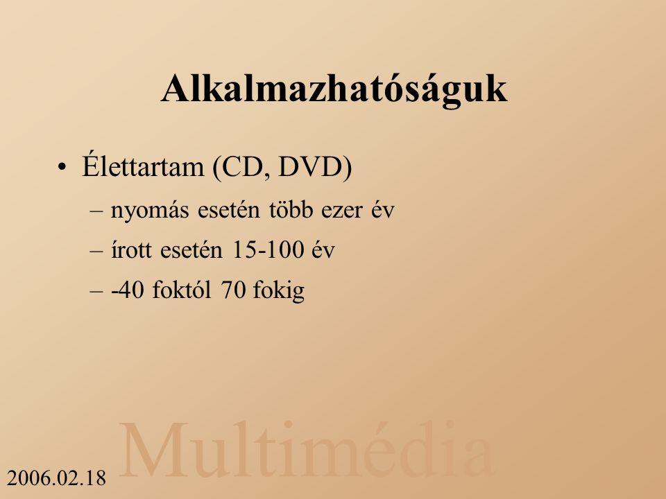Multimédia 2006.02.18 Alkalmazhatóságuk Élettartam (CD, DVD) –nyomás esetén több ezer év –írott esetén 15-100 év –-40 foktól 70 fokig