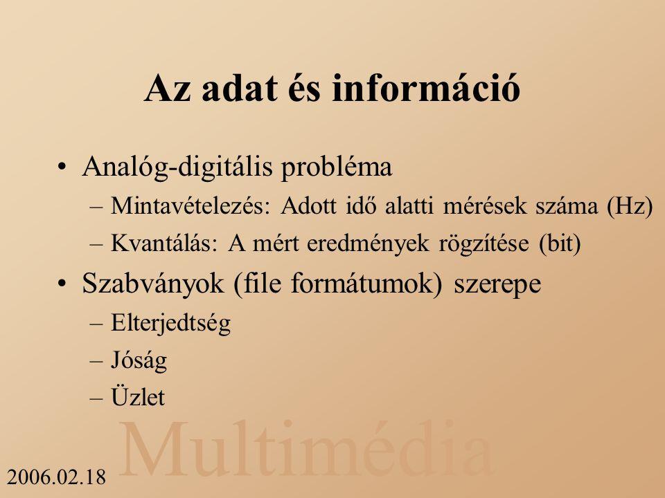 Multimédia 2006.02.18 Az adat és információ Analóg-digitális probléma –Mintavételezés: Adott idő alatti mérések száma (Hz) –Kvantálás: A mért eredmény
