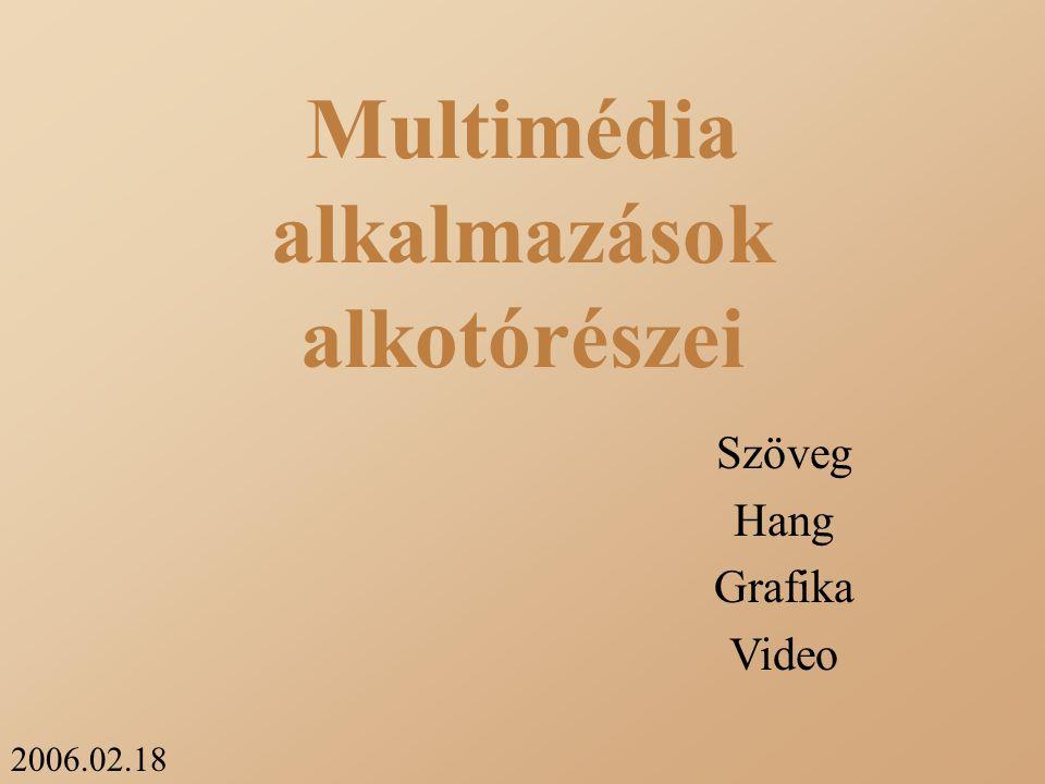 2006.02.18 Multimédia alkalmazások alkotórészei Szöveg Hang Grafika Video