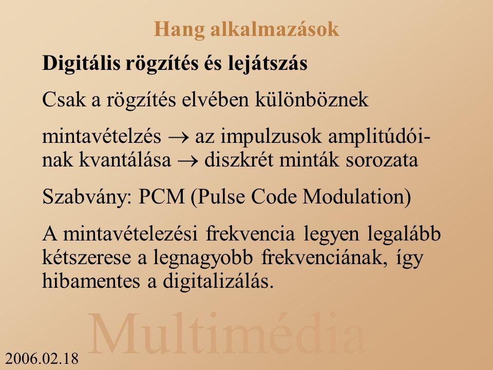2006.02.18 Multimédia Digitális rögzítés és lejátszás Csak a rögzítés elvében különböznek mintavételzés  az impulzusok amplitúdói- nak kvantálása  diszkrét minták sorozata Szabvány: PCM (Pulse Code Modulation) A mintavételezési frekvencia legyen legalább kétszerese a legnagyobb frekvenciának, így hibamentes a digitalizálás.