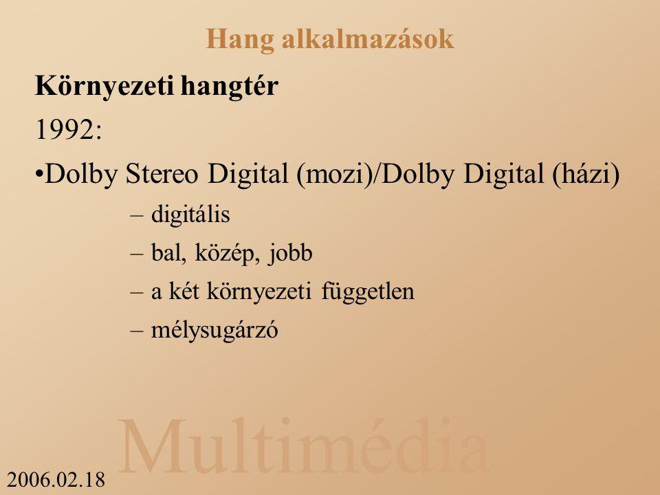 2006.02.18 Multimédia Környezeti hangtér 1992: Dolby Stereo Digital (mozi)/Dolby Digital (házi) –digitális –bal, közép, jobb –a két környezeti független –mélysugárzó Hang alkalmazások