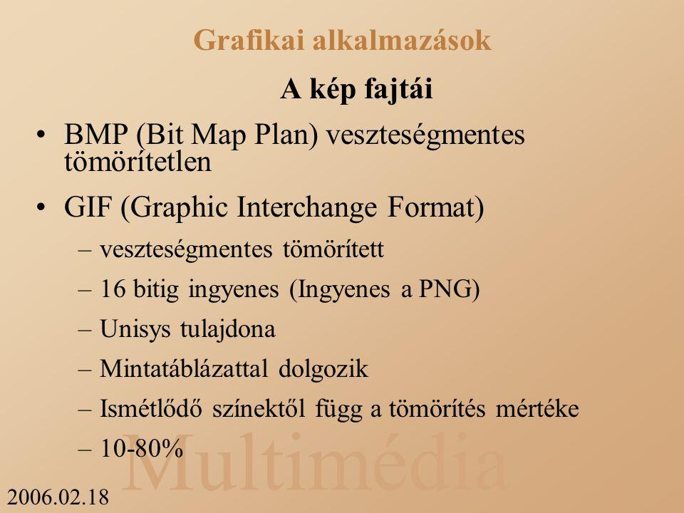 2006.02.18 Multimédia A kép fajtái BMP (Bit Map Plan) veszteségmentes tömörítetlen GIF (Graphic Interchange Format) –veszteségmentes tömörített –16 bitig ingyenes (Ingyenes a PNG) –Unisys tulajdona –Mintatáblázattal dolgozik –Ismétlődő színektől függ a tömörítés mértéke –10-80% Grafikai alkalmazások