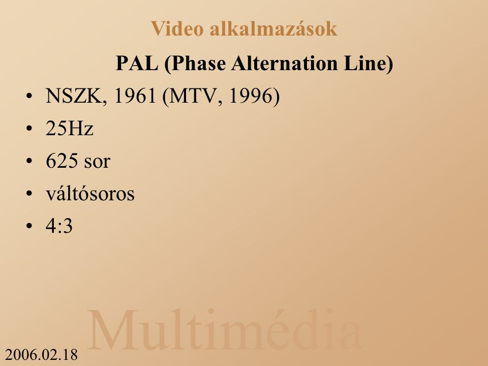 2006.02.18 Multimédia PAL (Phase Alternation Line) NSZK, 1961 (MTV, 1996) 25Hz 625 sor váltósoros 4:3 Video alkalmazások